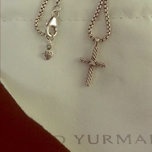David Yurman Petite Diamond Cross Necklace
